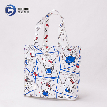 Eco laminated cute printing non woven shop tote bags