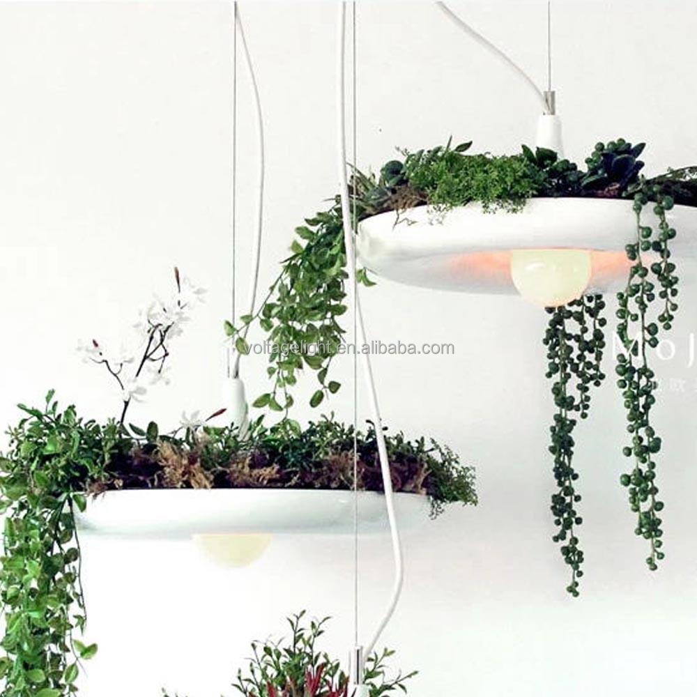 Decorative Hanging Pendant Lighting With Fresh Plant Aluminum ...