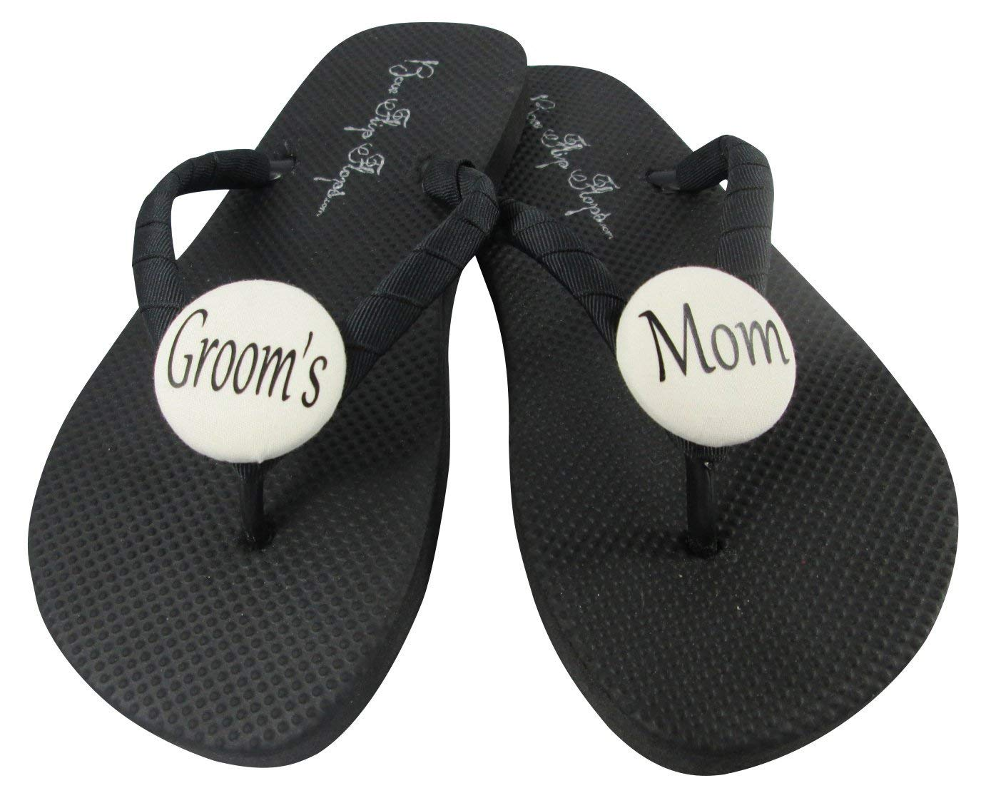623654fb9 Get Quotations · Custom wedding color Groom s Mom flip flops with ribbon