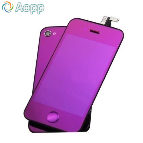 Mirror Colorful Purple Color LCD Display & Touch Screen Digitizer & Home Button & Back Cover For iPhone 4G/CDMA/4S Free Shipping