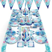 SJ314 Europe cartoon high end mermaid theme decorating 16 items set festival celebrating baby party supplies