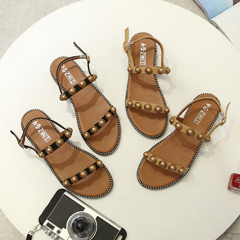 New Summer Beige Soft PU Leather Ankle Strap Flat Peal Lady <strong>Sandal</strong>