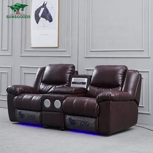 Custom Luxury Home Theater Seat, Black Leather Home Theater Chairs, Home Theater Chair Cup Holder Recliner