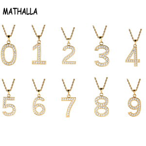 Wholesale AAA Cubic Zircon Numbers Charm Zero to Nine 0-9 Iced Out Diamond Pendant Necklaces Jewellery