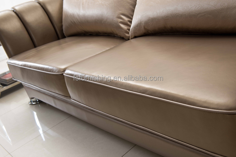 Nice FS008 Luxury Contemporary Gold Pearl Shine Italian Leather Stainless Steel  Living Room European Sofa Home Furniture