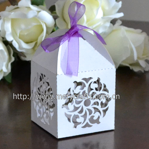 Ic Decoration Wedding Favors Flowers Ivory Laser Cut Paper Box Biscuit Cookie