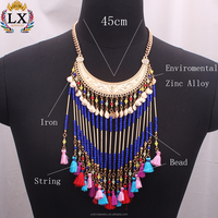 NLX-01004 new design gold necklace ethnic style fancy long beaded chain necklace handmade bohemian bali tassel necklace