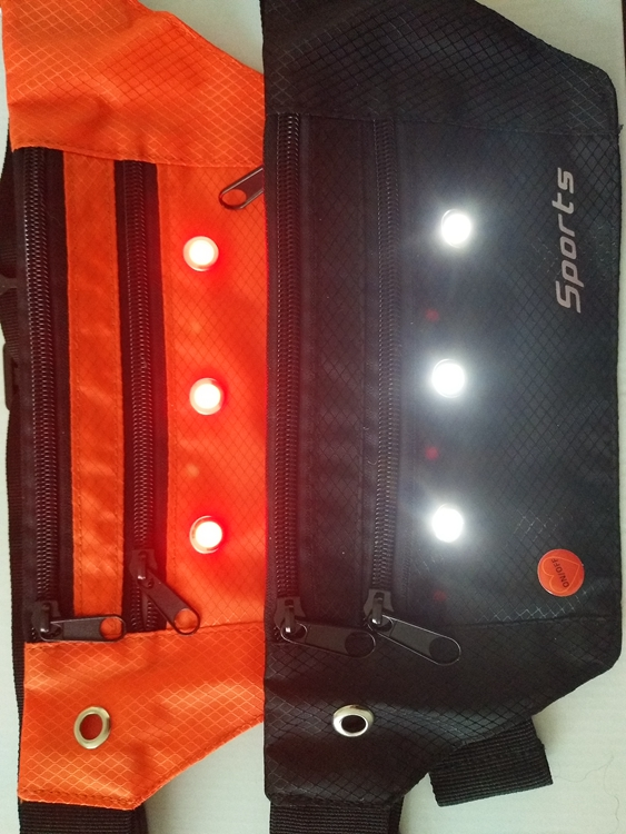 Colorful cool design LED custom washable reflective sports waist bag with lights for phone