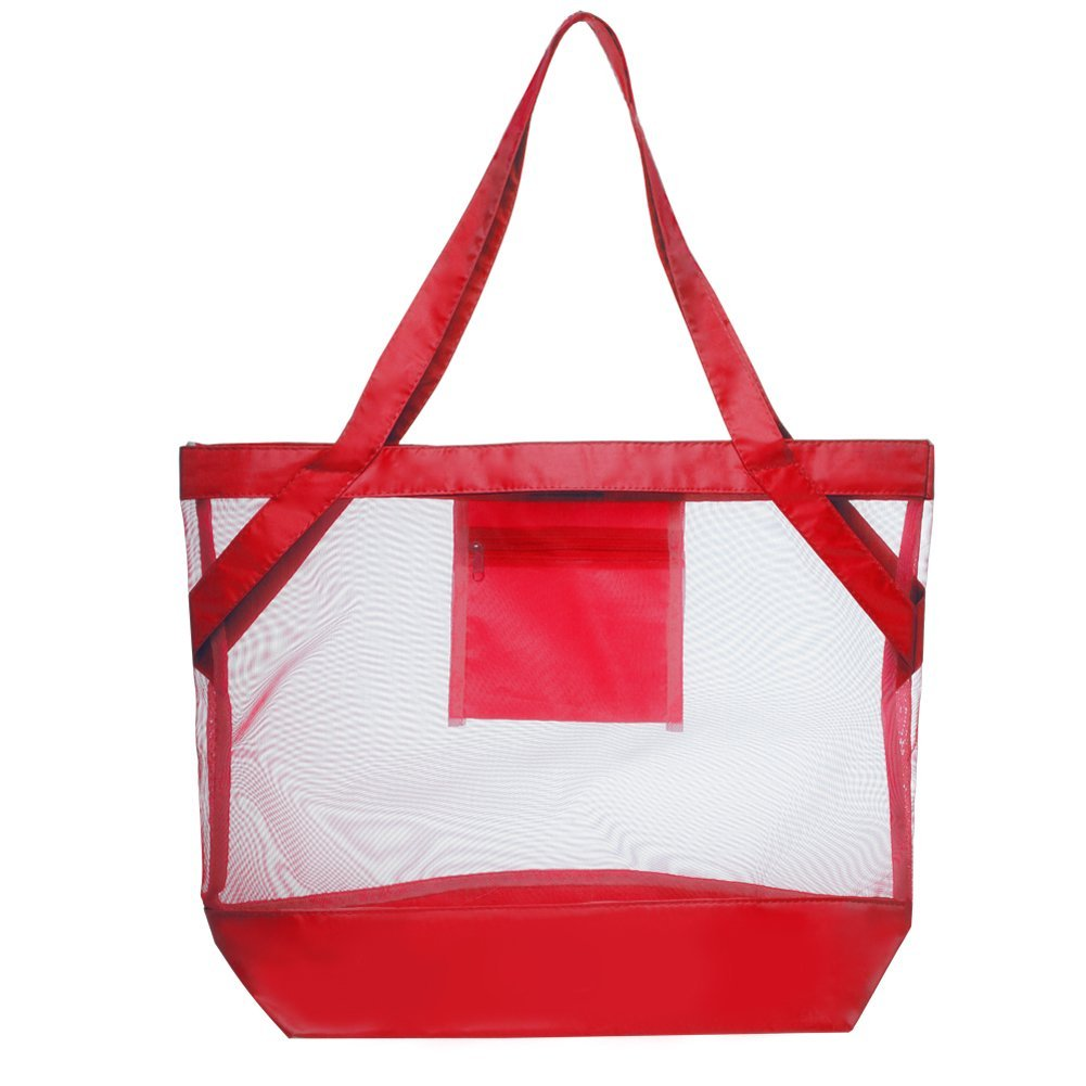 Transparent Tropical Beach Body Mesh Tote Bag (Red) by BAGS FOR LESS™