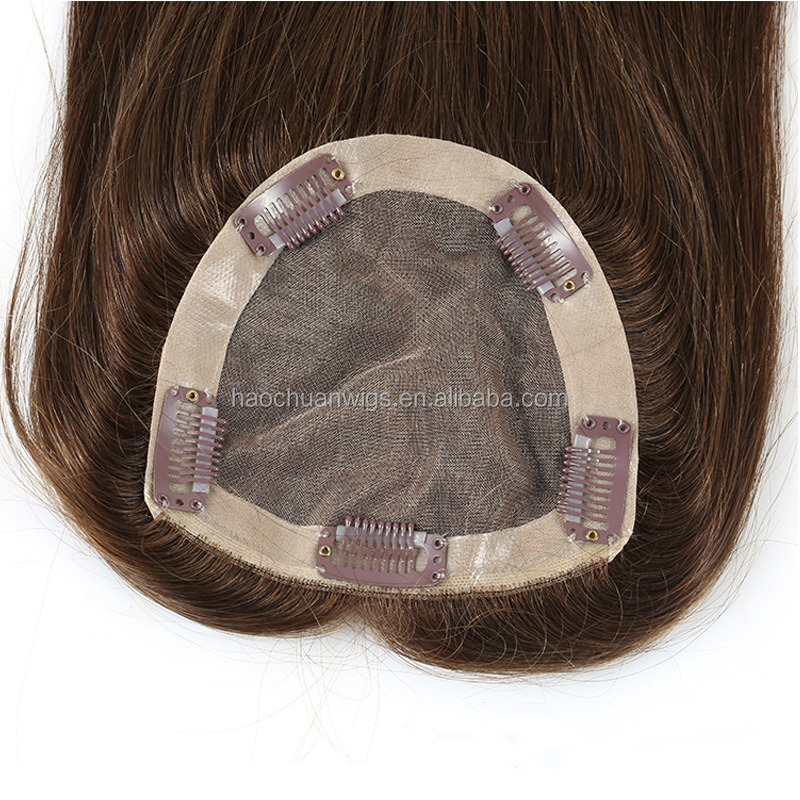 hot sale wig European human hair 4x4 toppers mono silk base closure high quality virgin hair Women Hair Topper/Toupee For Woman