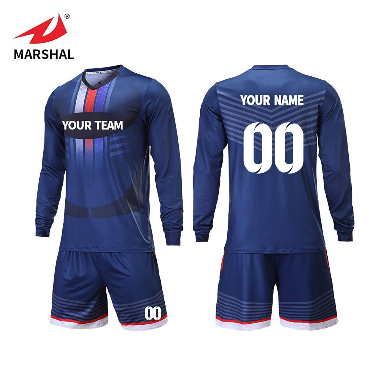 444a382bfd73 Get Quotations · Marshal Jersey Custom Team Soccer Jerseys Soccer Team  Training Equipment Long Sleeves Soccer Uniforms Design Your