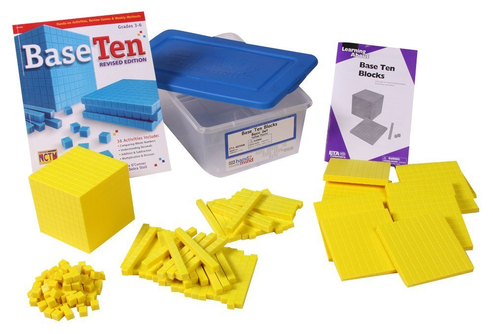 ETA hand2mind Yellow Plastic Base Ten Blocks, Starter Set (Set of 161)