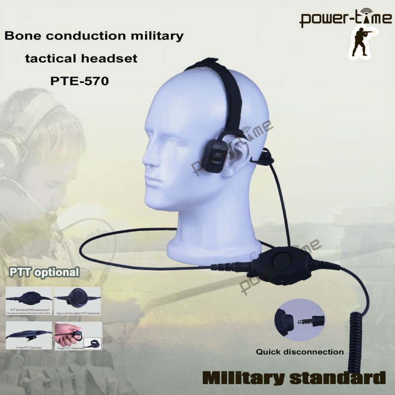 Military bone conduction headphones for firefighter integrated communications helmet PTE-570