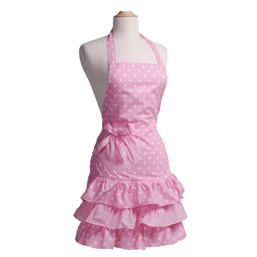 Payviva 100% Cotton Fabric Material Three Tiered Ruffles With a Big Bow on the Pocket Kitchen Apron Pink Dots Color Adult