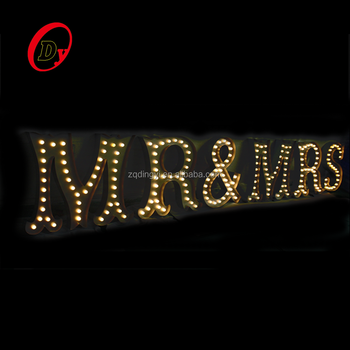factory price custom made hot sale metal luminous marquee signs rgb led vintage light bulb letter sign for wedding party