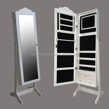 Modern Floor Standing Rotating Multi Storage Wooden Mirror Jewelry Cabinet  In White