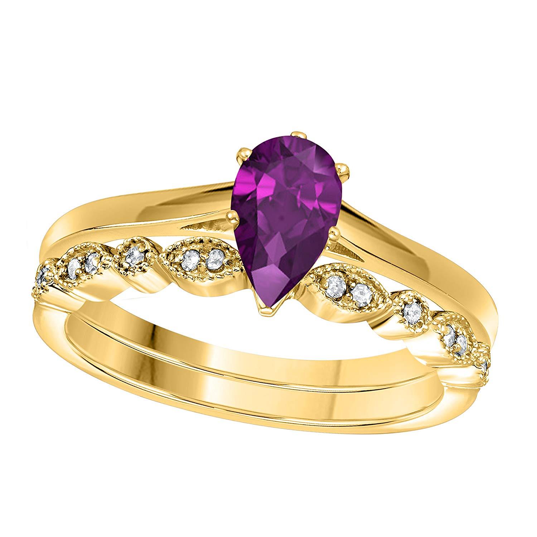 DreamJewels 1.00 Ct Pear Shape & Round Cut Amethyst & White CZ Diamond 14k Yellow Gold Finish Alloy Art Deco Vintage Design Wedding Engagement Ring Sets Size 4.5-12
