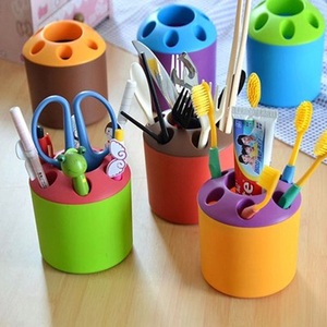 Drop Shipping Multifunction Toothpaste Holder 6 Holes Brush Cup Knife and Fork Container