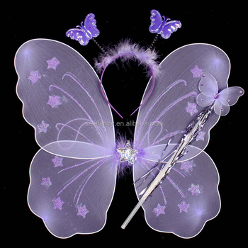 Top design butterfly led wings with headband magic wand for Butterfly wands wholesale