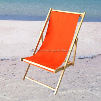 Wooden Folding Sun Beach Chairs With Colorful Canvas