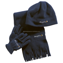 Custom men winter wool knitted beanie hat scarf and gloves set with embroidery logo