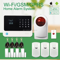 LCD display smart home wifi/gsm security alarm system work with wireless smoke detectors,water leakage sensor,wifi ip cameras