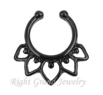 Black Plated Tribal Indian Neus Ring Clip Op Septum Piercing Nep