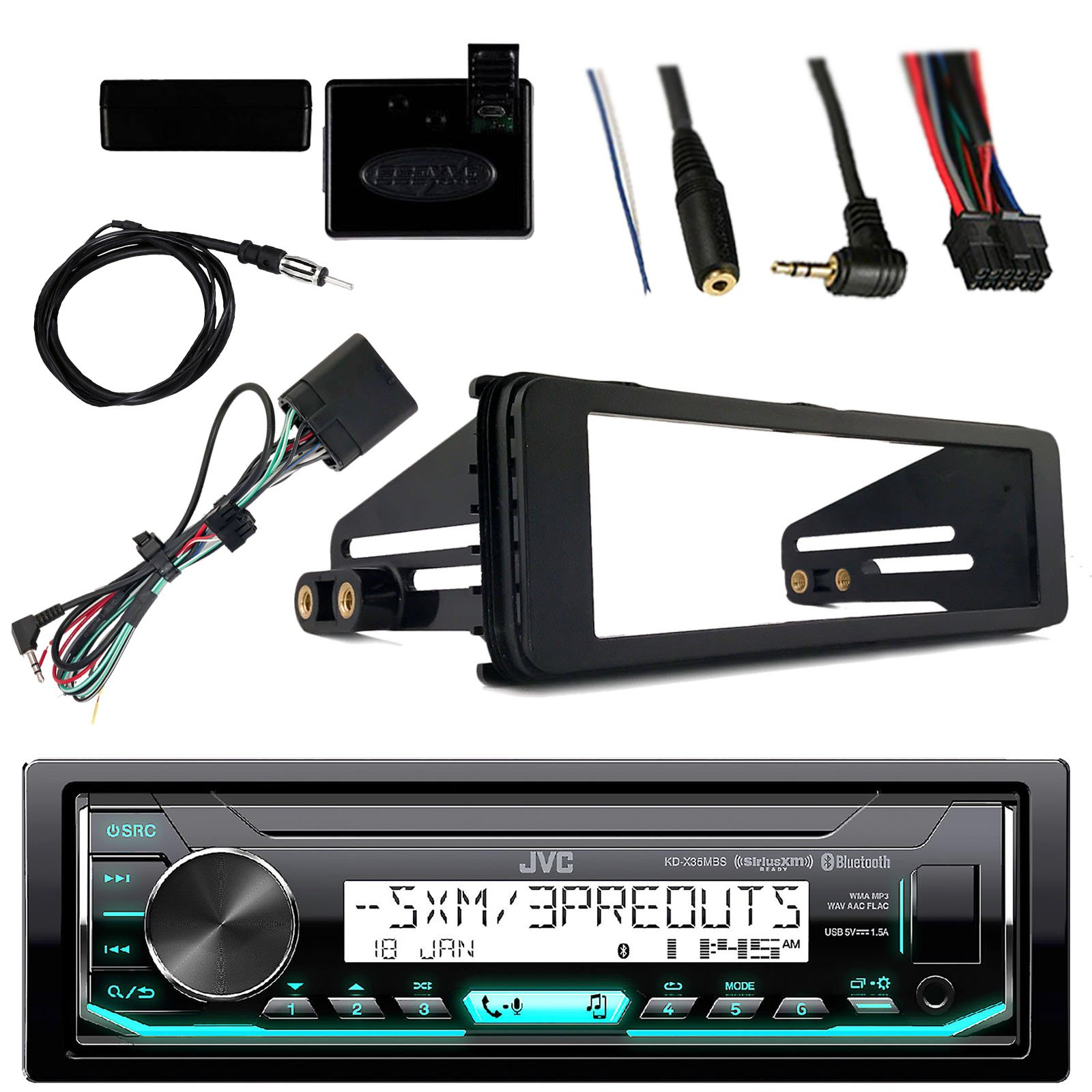 Get Quotations · JVC Marine Radio Stereo Bluetooth Receiver Bundle with  Adapter Install Dash Kit, Handle Bar Control