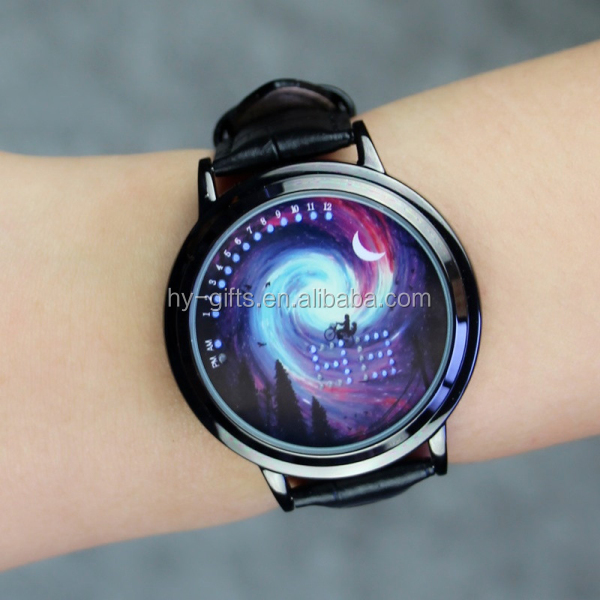 Creativo led orologio binario cuoio touch screen ha condotto la vigilanza