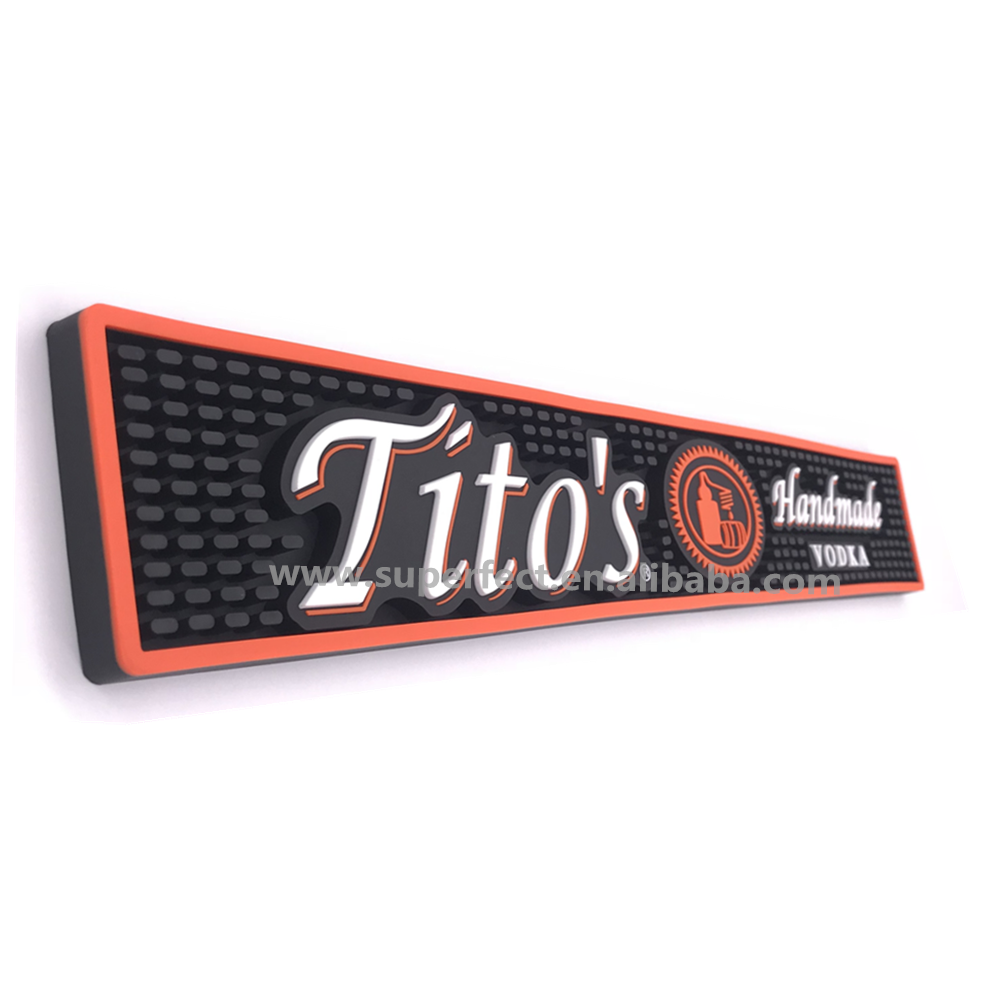 bar service anti slip 100% 3d oem logo counter drip Custom rubber pvc bar mat