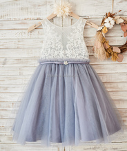 Ivory Lace Dusty Blue Tulle Sheer Back Wedding Flower Girl Dress with Belt