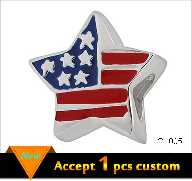 Fashion USA Flag slide beads charm Star Shape USA Flag Charm Pendant Metal Pendant