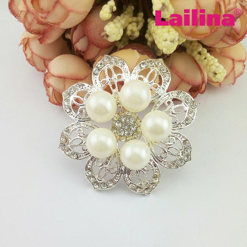 Crystal Silver Metal Pearl Flower Bouquet Rhinestone Round Brooch ...