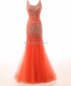 Red Mermaid Tulle Long Prom Dresses 2016 Luxury Crystals Sequined Evening Gowns Special Occasions Dress Robe De Soiree