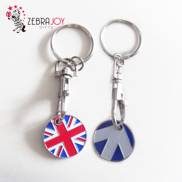 UK customized gift shopping cart token metal trolley holder coin keychain