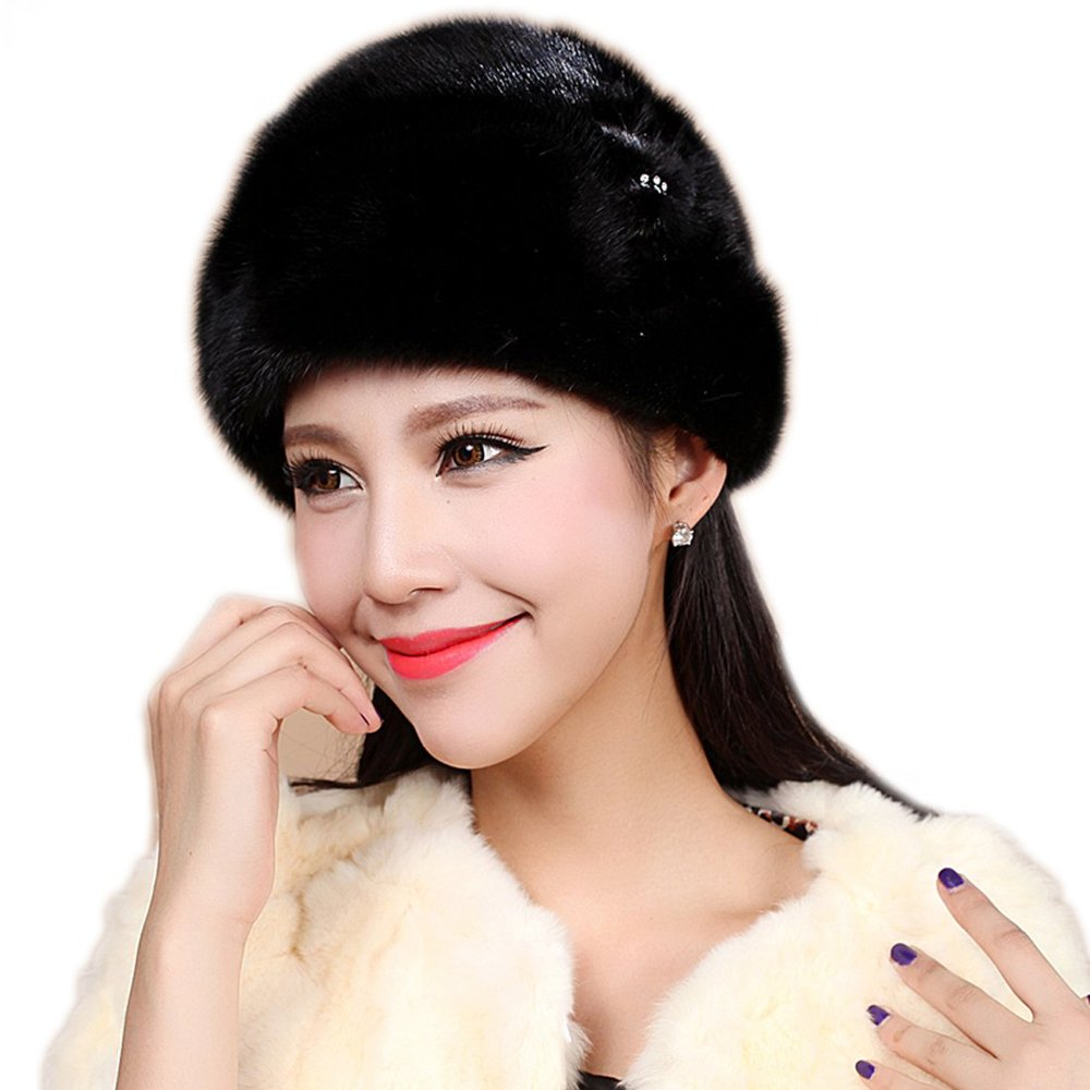 834d92fc4e545 Get Quotations · Mink Fur Roller Hat with Mink Rosette and Top