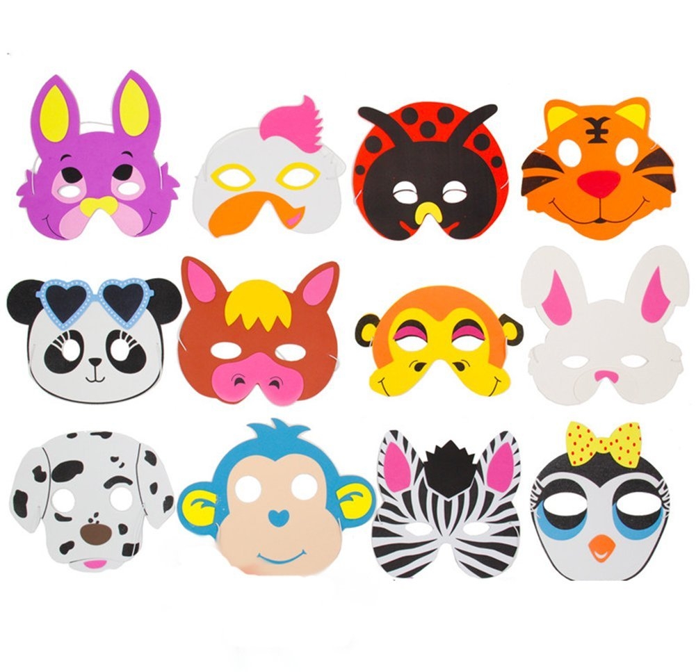 Child Friendly Jungle Animal Soft Foam Mask Costume Fancy Dress Party Big Pack!