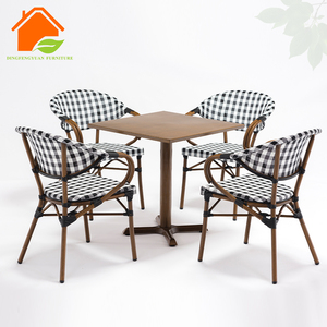 Bamboo Rattan Cafe Bar And Chair Door Balcony Metal Table Set