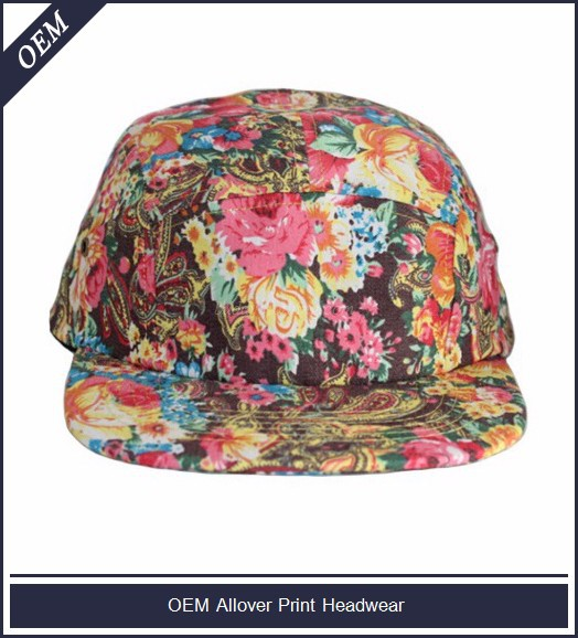 Design your own floral print snapback private label cap