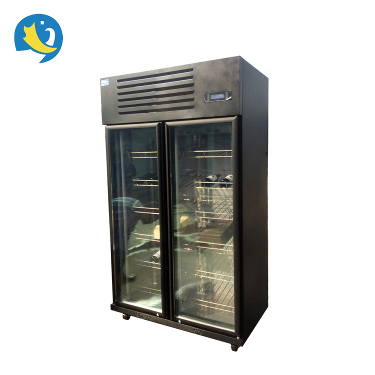 High quality European style commercial stainless steel adjustable shelves lockable red wine cooler chiller refrigerator