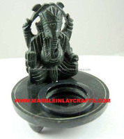 Decorative Stone Ganesha Design Candle Stand