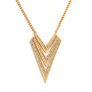 Fashion Brand Hot Trending Designs Gold Jewelry Accessories for Women  Triangle Pendant Necklace N2491 b2529b1b4e54