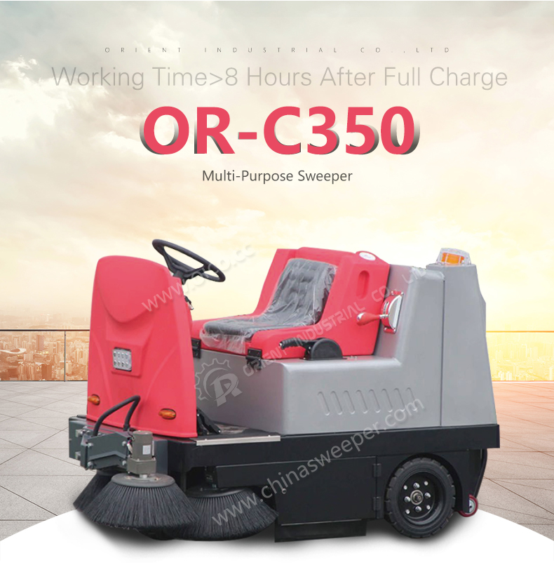 Man on board driving type C350 industrial electric vacuum street sweeper
