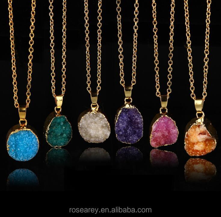 Fashion Colored Geometry Round Shaped Druzy Nature Stone Pendant Necklace