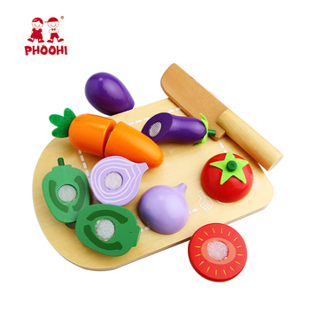 Phoohi pretend play food set kids wooden cutting vegetable toy for children