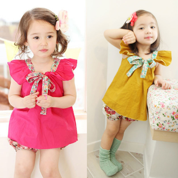 Girls Kids T Shirt Ruffle Sleeves Baby Shirts Tops Flower Bowknot Collar Costume 1 4Y Free