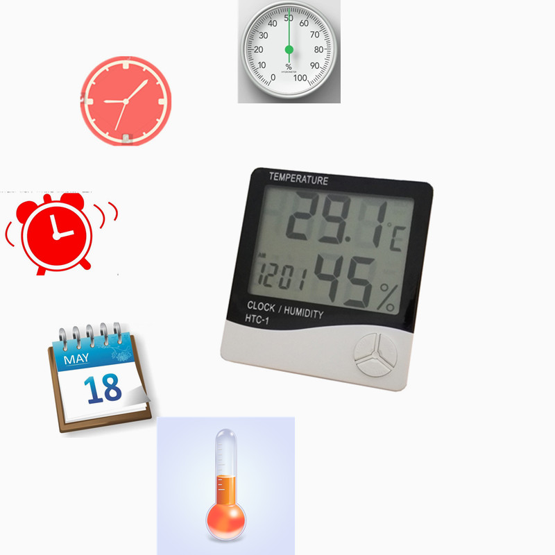 5 in 1 gift portable indoor C / F humidity <strong>temperature</strong> gauges thermometer digital