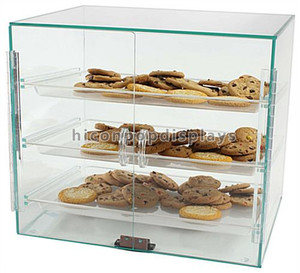 Franchised Store Food Products Retail 3-Layer Countertop Biscuit Glass Display Cases For Sale