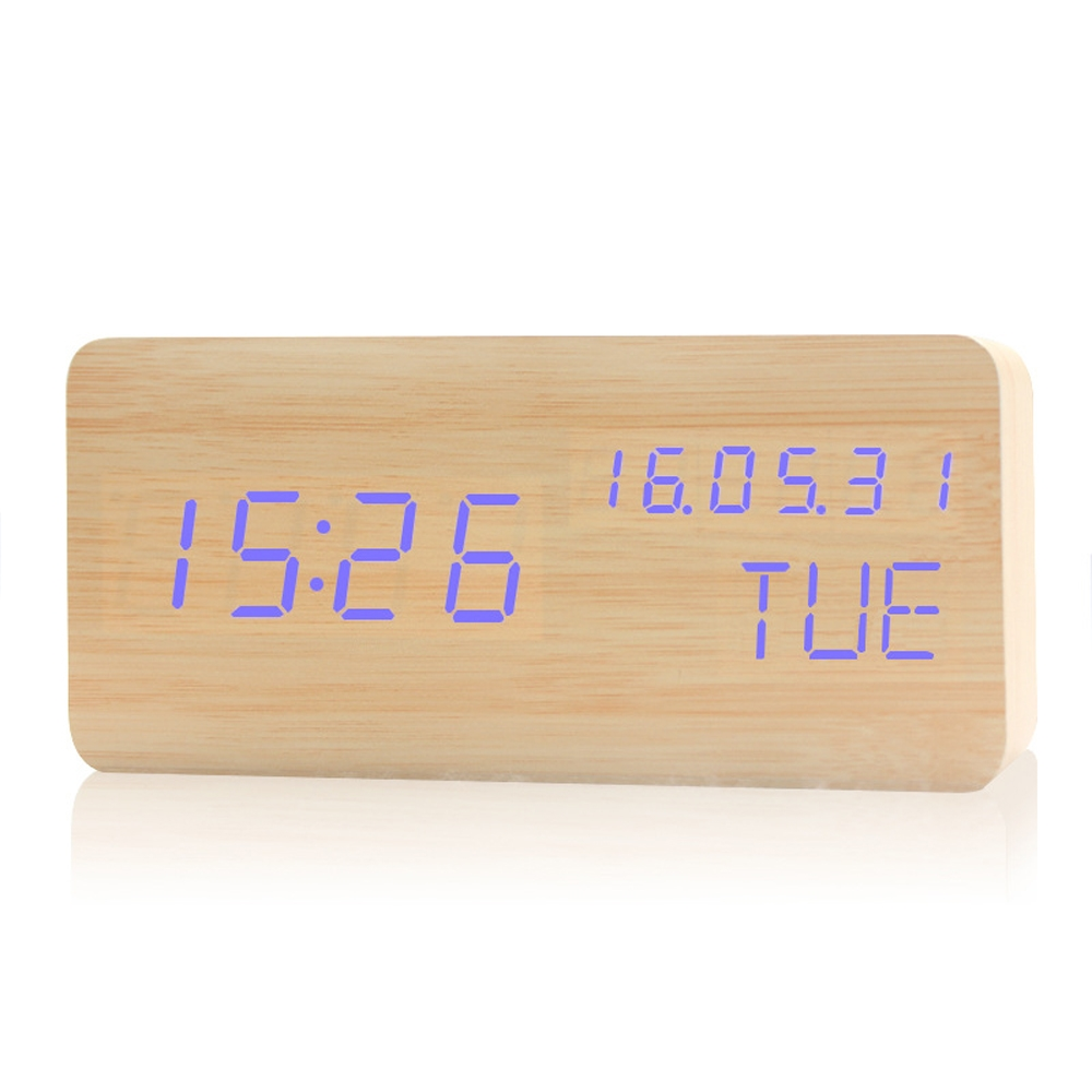 Mini LED Table Clock Multi-style Wooden Digital Clock With Week Display