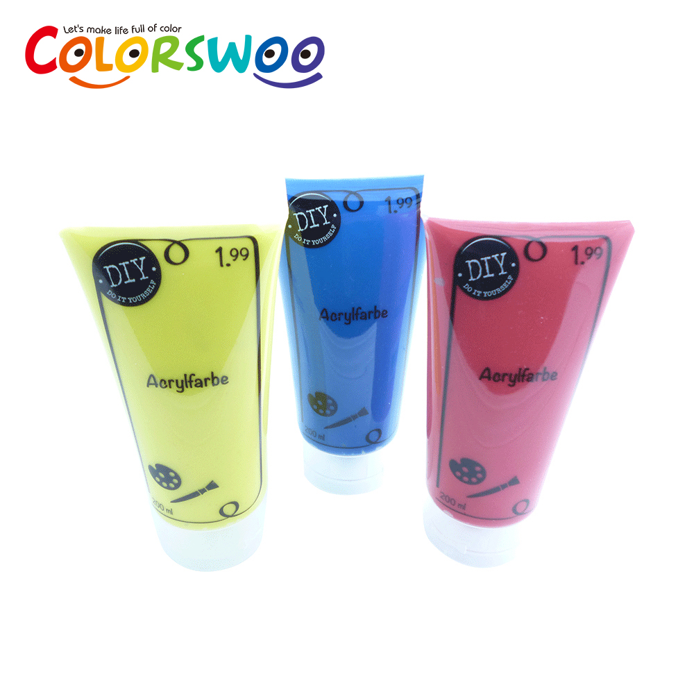 Hot Sale 200ML Plastic Tube Packaging Neon Acrylic Paint